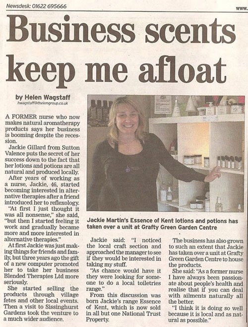 Blended Therapies article in Kent Messenger Newspaper