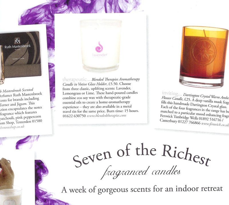 Lavender Votive candle featured in Wealden Times magazine