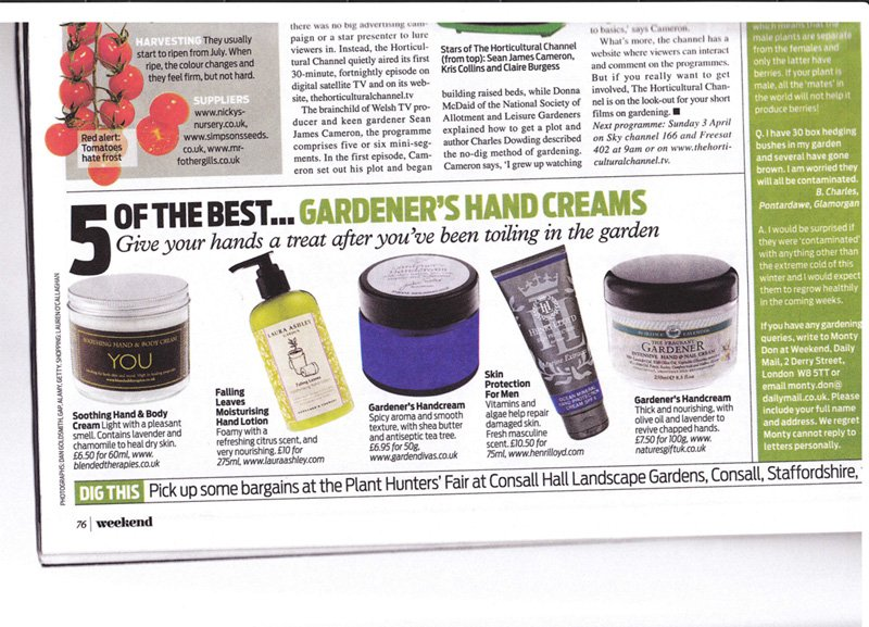 Ahhh Soothing Hand Cream featured in Weekend magazine