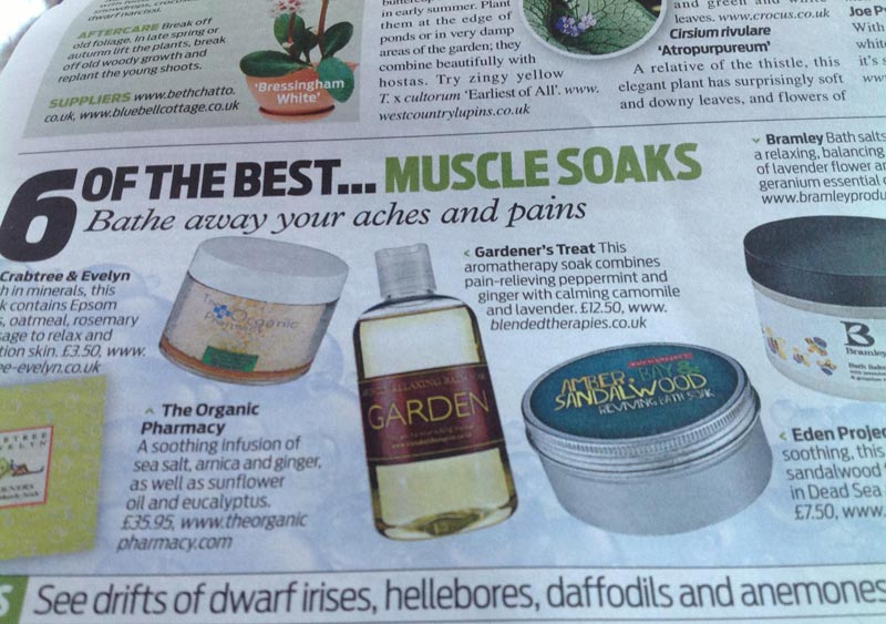 Gardeners Bath Soak featured in 6 of the best muscle soaks Daily Mail Magazine Feb 2014