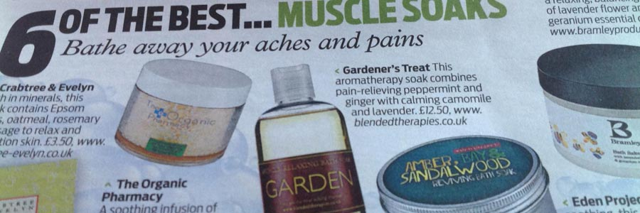 Gardeners Bath Soak featured in 6 of the best bath soaks - Daily Mail Weekend Feb 2014