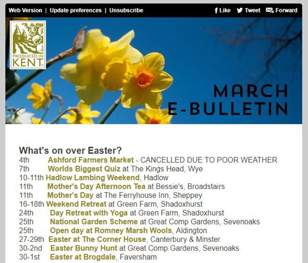 Produced in Kent March e-bulletin